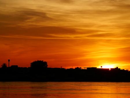 Evening and sunset Thai - Lao Stok Fotoğraf