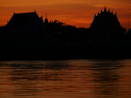 Evening and sunset Thai - Lao Stock Photo