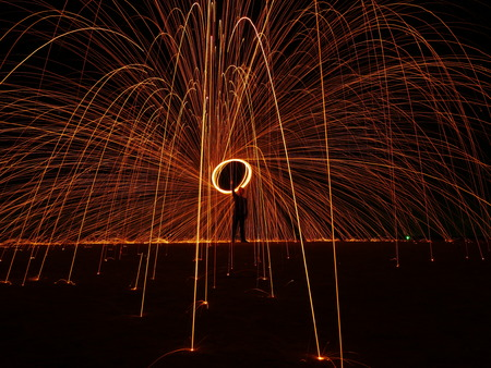 Man shoot power fire ball