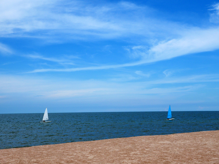 Sailboat blue and white with sky blue sea Stok Fotoğraf