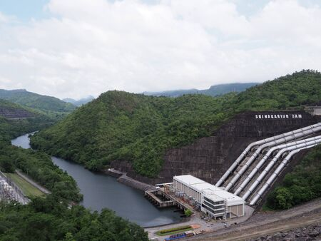 Srinagarind Dam in rainy season at Kanchanaburi province Thailand Stok Fotoğraf