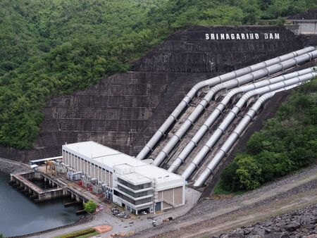 Srinagarind Dam in rainy season at Kanchanaburi province Thailand Stok Fotoğraf - 132113976