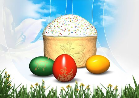 Festive easter cake and eggs photo
