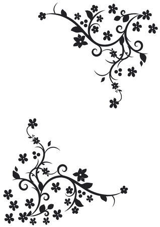 vector corner with ringlets and flower Çizim