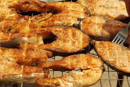 Appetizing barbecue from a red fish (Salmon andTrout) photo