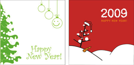 Happy New Year 2009. Funny vector greeting card 2009.