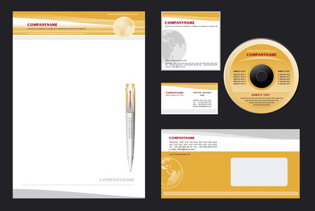 Corporate Identity Template Vector - blank, card, pen, cd, note-paper, envelope Stock Vector - 4151760