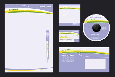carta da lettere: Corporate Identity Template Vector con la natura di fondo - in bianco, carta, penne, cd, nota-carta, buste