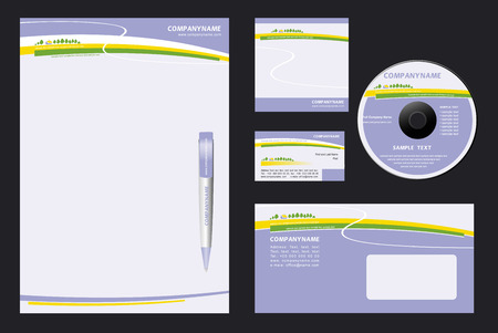 notepaper: Corporate Identity Template Vector  with  nature  background - blank, card, pen, cd, note-paper, envelope
