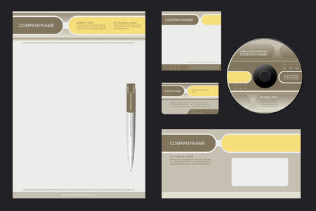 Corporate Identity Template Vector  with  grey and yellow  background - blank, card, pen, cd, note-paper, envelope Vector
