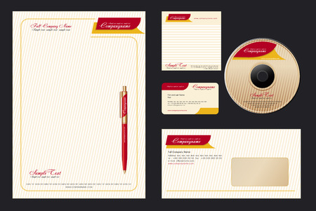 Corporate Identity Template Vector  with  elegant background - blank, card, pen, cd, note-paper, envelope Stock Vector - 4432027