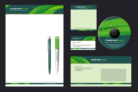 Corporate Identity Template Vector  with  green background - blank, card, pen, cd, note-paper, envelope Vector