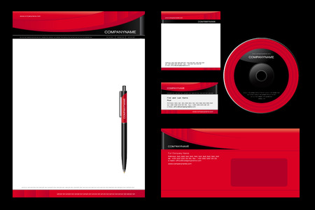 Corporate Identity Template Vector - blank, card, pen, cd, note-paper, envelope