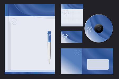 "Vector background  ""Blue Spiral"" for letter-head, pen, business card; note-paper; cover CD, envelope."