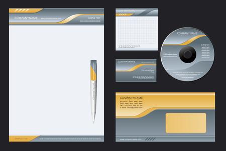 carta da lettere: Vector background per lettera testa, le penne, biglietti da visita; nota-carta, i CD, busta. Vettoriali