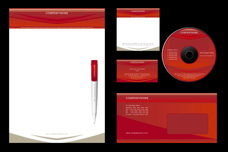 notepaper: Corporate Identity Template Vector  - blank, card, pen, cd, note-paper, envelope
