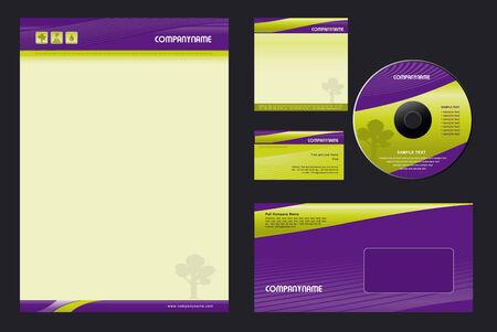 Corporate Identity Template Vector  - blank, card, cd, note-paper, envelope Çizim