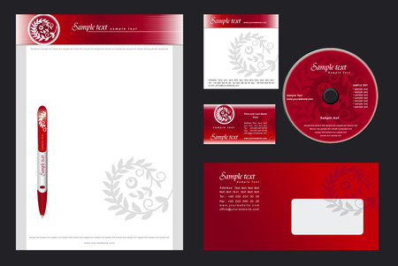 Luxurious  red template background for  casino, restaurant, hotel - blank, card, cd, note-paper, envelope, pen