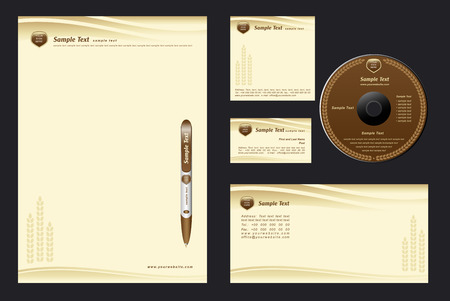 letterhead: brown template background with cones for  bakehouse - blank, card, cd, note-paper, envelope, pen