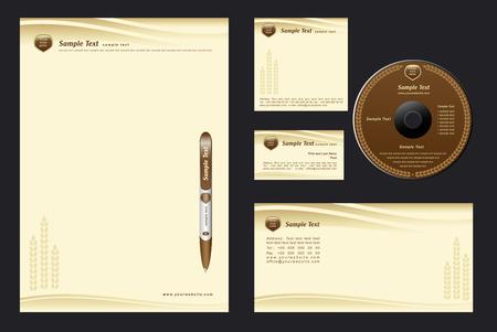 marrón de fondo de la plantilla con conos para bakehouse - en blanco, tarjeta, cd, nota-papel, sobres, lápiz Ilustración de vector