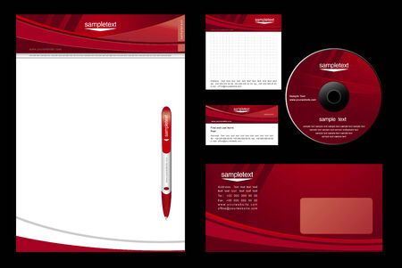 visiting card design: red template background - blank, card, cd, note-paper, envelope, pen Illustration