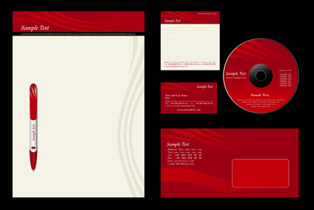 Red template background - blank, card, cd, note-paper, envelope, pen