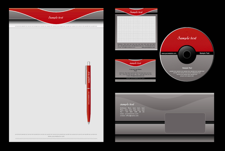 identity template: Red and grey template background - blank, card, cd, note-paper, envelope, pen