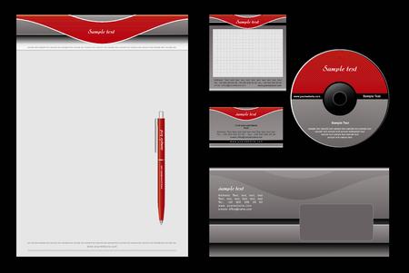 carta identit�: Sfondo rosso e grigio modello - vuoto, carta, cd, nota-carta, busta, penna  Vettoriali
