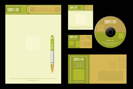 Gold Nature - template background (blank, card, cd, note-paper, envelope, pen) Vector