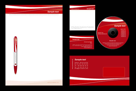 Red template background (blank, card, cd, note-paper, envelope, pen) Vector