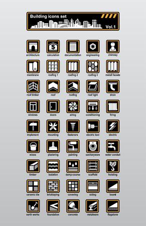 piedra laja: Conjunto de iconos de construcci�n y reconstrucci�n de vector