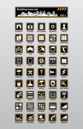 tile roof: Set di icone vettoriali costruzione e ricostruzione