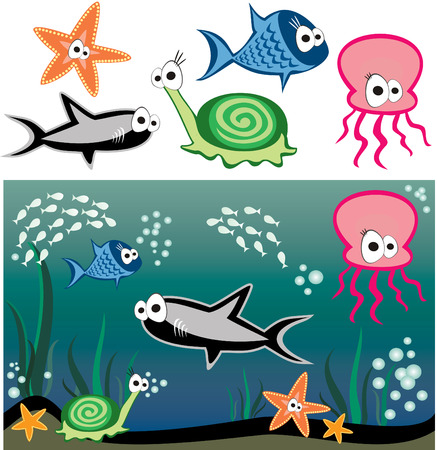 cartoon submarine: Vector fish under water - shark, snail, starfish, octopus and others fishes