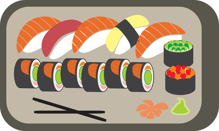 The Japanese meal. Sushi set - illustration Stock Vector - 7912137