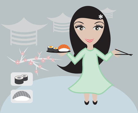 The girl the waiter at the Japanese restaurant holds in hands sushi and roll Vector