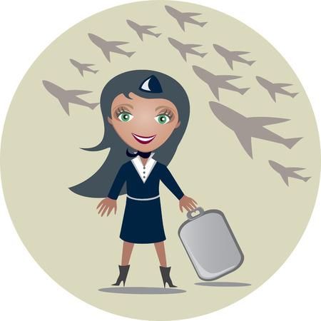 azafata de vuelo: La azafata tiene una maleta en las manos - ilustraci�n  Vectores