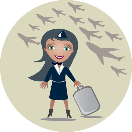 attendant: The stewardess holds a suitcase in hands -  illustration