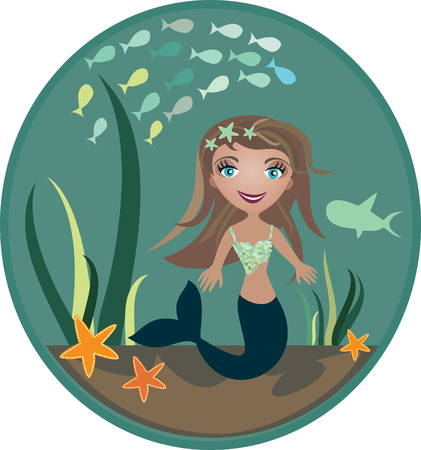 The small mermaid at the bottom of the sea  - illustration Vector
