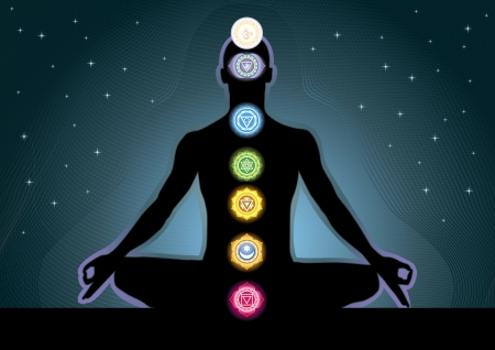 The location of the chakras on the human body, image Vector