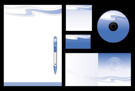 carta da lettere: Sfondo vettoriale modello per agenzia di viaggio (bianco, carta, cd, copertina in nota-carta, penna) Vettoriali