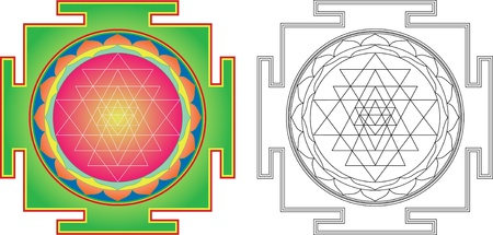 Shri  Yantra (or Sri Yantra) for Meditation .  Color and contour image Vector