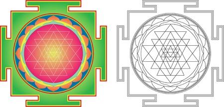 Shri  Yantra (or Sri Yantra) for Meditation .  Color and contour image Vector