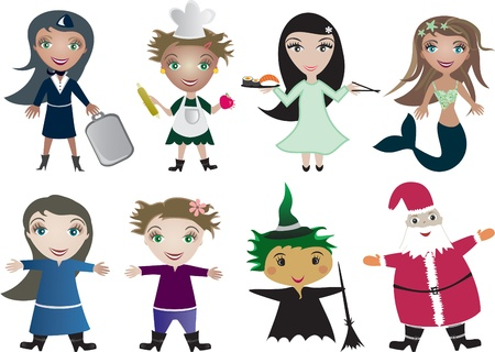 water nymph: children cartoon in profession uniform and  holiday clothes