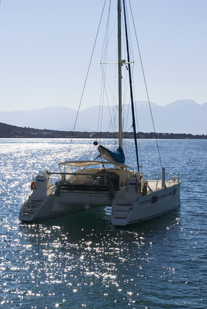 Catamaran on the coast of Crete.