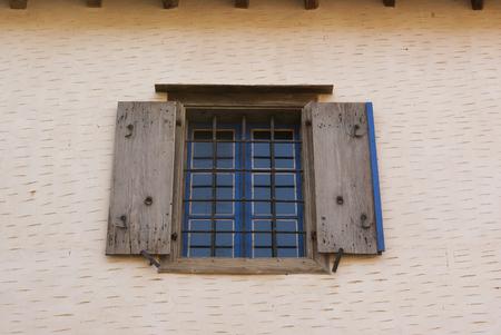 Window. Fortress of the island of Spinalonga. Leprosarium. Crete, Greece.