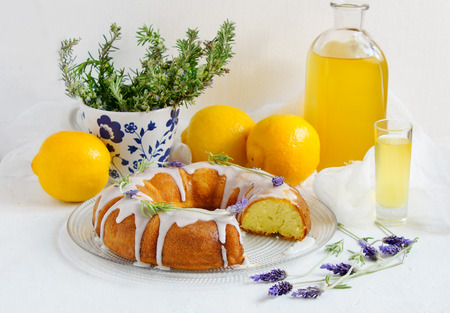Lemon Cake with homemade limoncello and lavander