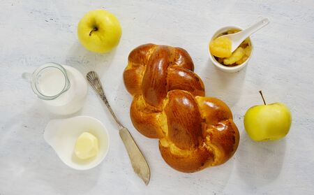 breackfast: brioche on thу white background - healthy breackfast Stock Photo