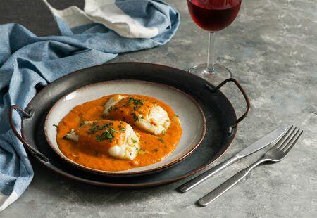 spanisches Essen, Bacalao a la vizca?na, baskischer Cod