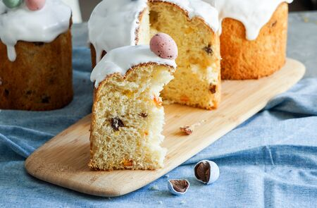 Easter traditional orthodox sweet bread, kulich. Easter holidays breakfast. eggs