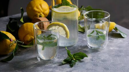 fresh home made lemon lemonade with mint